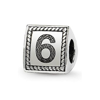 925 Sterling Silver Polished Reflections Sport game Number  Triangle Block Bead Charm Pendant Necklace Jewelry Gifts for