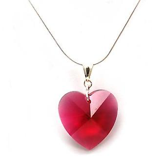 TOC 28mm Pink Heart Pendant Made With Swarovski Crystals