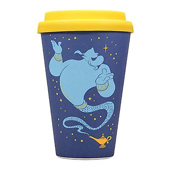Aladdin Travel Mug Genie Wrong Side Of The Lamp Official Disney Blue Bamboo