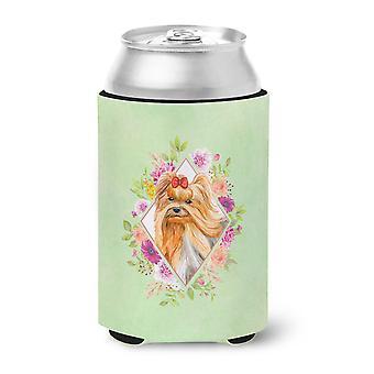 Yorkshire Terrier #2 Green Flowers Can or Bottle Hugger