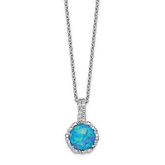 10.59mm Cheryl M 925 Sterling Silver Cubic Zirconia and Lab Simulated Blue Opal Necklace 18.25 Inch Jewelry Gifts for Wo