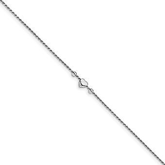 1.2mm 925 Sterling Silver Rhodium plat Gepolijst Liefdeshart met 1inch Ext. Enkelt 9 Inch Sieraden Geschenken voor vrouwen