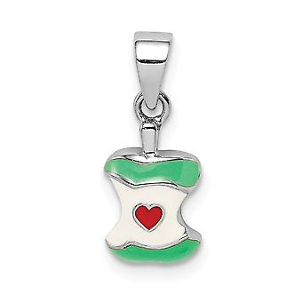 925 Sterling Silver Rhodium plated for boys or girls Enameled Apple Core Pendant Necklace - .8 Grams