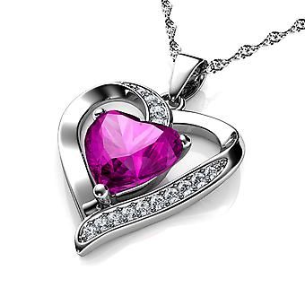 Dephini pink heart necklace - 925 sterling silver pendant cz crystal