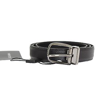 Dolce & Gabbana Black Patterned Leather Shiny Silver Buckle Belt