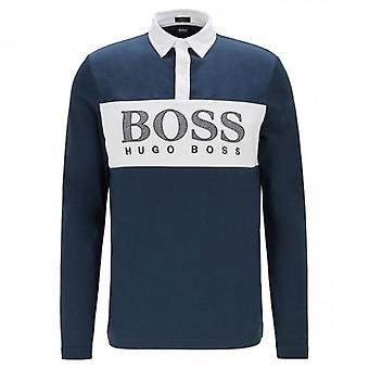 Boss Green Hugo Boss Plisy 1 Navy Long Sleeved Logo Polo 50427848