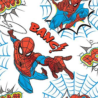 Spiderman Pow Wallpaper White / Multi Graham and Brown 108553