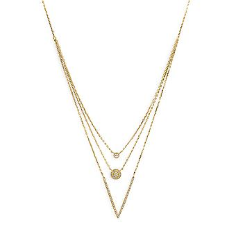 16 Inch + 2 Inch Extention 14k Gold Plated 925 Sterling Silver Graduated Multistrand Necklace Three CZs Jewelry Gifts fo
