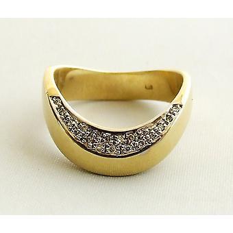 Geel gouden occasion ring met diamant