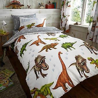 Dinozaur Rawrsome Pilotă Husă Pat Set lenjerie de pat reversibilă 137x200 cm