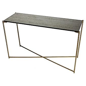 Gillmore Antiqued Glass Large Console Table With Brass Cross Base