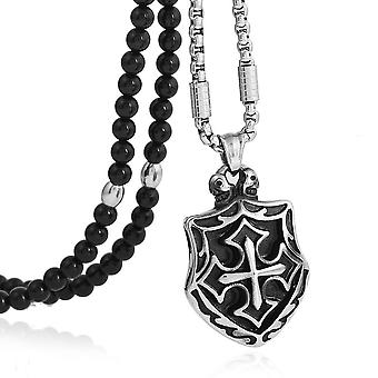 Knights templar shield necklace with black natural stone chain