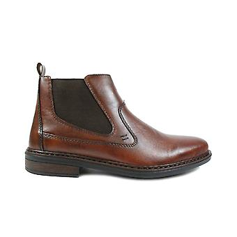 Rieker Dustin 37662-24 Brown Leather Mens Zip Up Chelsea Boots