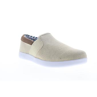 Ben Sherman Presely Gingham Slip On Mens Beige Canvas Lifestyle Sneakers Shoes