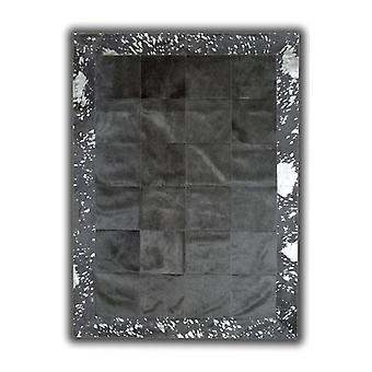 Rugs -Patchwork Leather Cubed Cowhide - Black with Acid Silver Border
