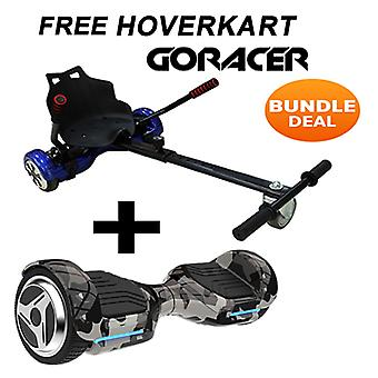 G PRO Camo Segway with a Racer Hoverkart in Black