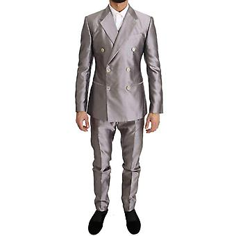 Dolce & Gabbana Silver Silk Double Breasted 3 Piece Suit -- KOS1490736