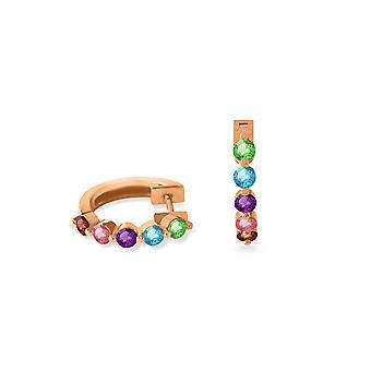Earrings Hoops Multi Precious Stones and 18K Gold