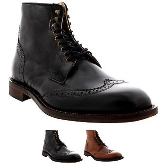 Mens H By Hudson Greenham Brogue Ankle Boot Smart Work Leather Shoes