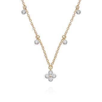 الماس الزهور شوكة سحر قلادة في 9ct الذهب الأصفر 191N0232019