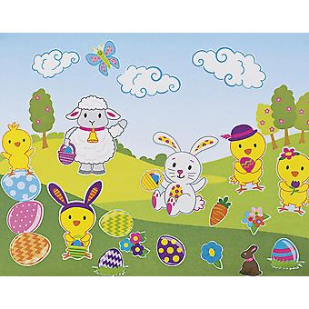 12 Easter Themed Sticker Scenes for Kids Crafts