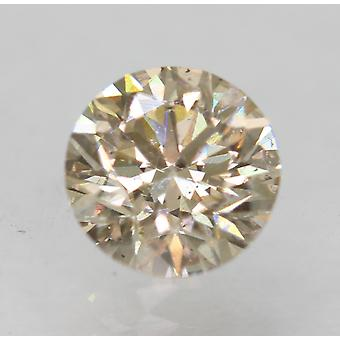 Cert 0.63 Carat Yellow Brown VS1 Round Brilliant Enhanced Natural Diamond 5.38mm