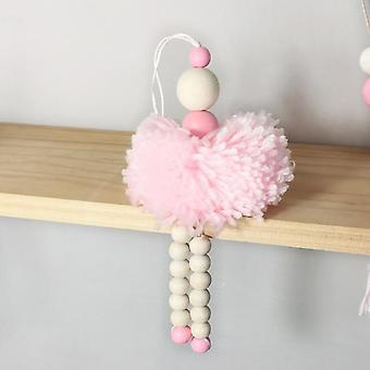 Nordic Style Ballet Dancer Hanging Wooden Beads Decoration - Girl Room &