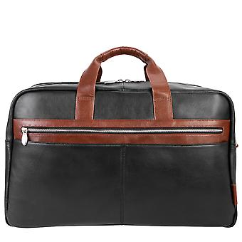 """19112, U Series, Wellington 21"""" Leather, Two-Tone, Dual-Compartment, Laptop & Tablet Carry-All Duffel - Black"""