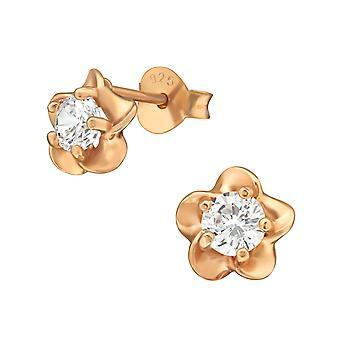 Λουλούδι - 925 ασημένια κυβικά στηρίγματα αυτιών Zirconia - W36796x