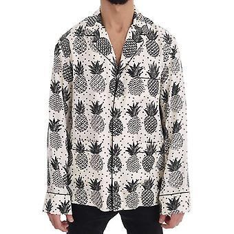 Dolce & Gabbana hvit silke ananas ut Casual skjorte - TSH1369904