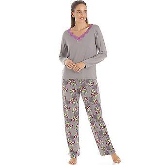 Camille Womens Grey Floral Print Spandex Pyjamas