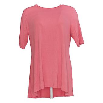 H by Halston Women's Top Elbow- Sleeve w/ Hi-Low Hem Pink A350262