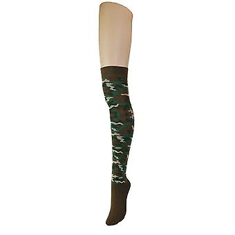Women's Army Camouflage Over The Knee High Costume Socks 4-6 UK