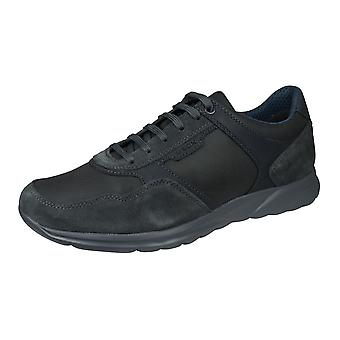 Geox U Damian miesten nahka Tennarit/kengät-antrasiitti