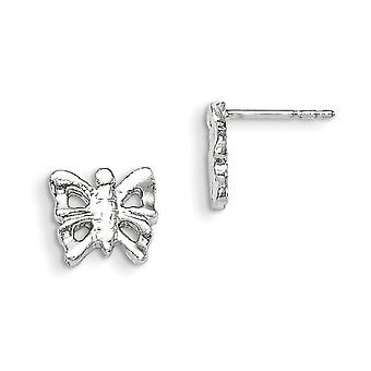 925 Sterling Silver Solid Polished Post Earrings Butterfly Mini for boys or girls Earrings