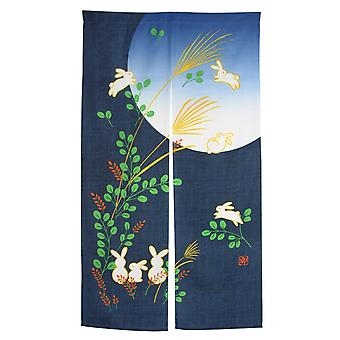 Noren Rabbit Under Moon, Japanese Doorway Curtain