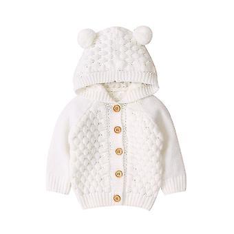 Dětský svetr, zimní novorozenec svetr pro bundy s kapucí, knoflík nahoru