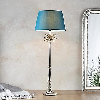 Endon Lighting Leaf & Evie - Tafellamp gepolijste nikkelplaat & groen katoen 1 Licht IP20 - E27