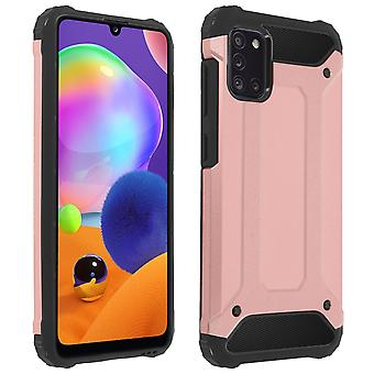 Back cover for Samsung Galaxy A31 Hybrid Design Relief Fall Protection Rose Gold
