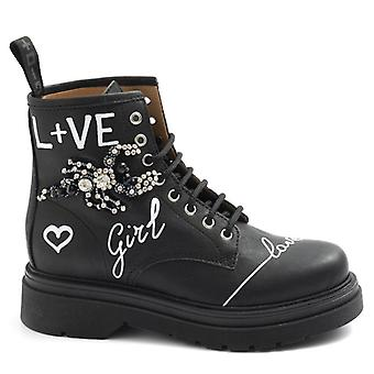 Amphibian Woman Gio+ Black Leather With Writings and Rhinestones