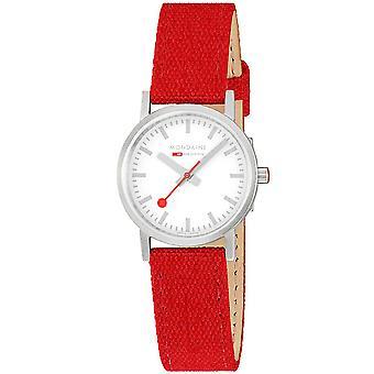 Mondaine Classic Quartz White Dial Red Têxtil Strap Ladies Watch A658.30323.17SBC