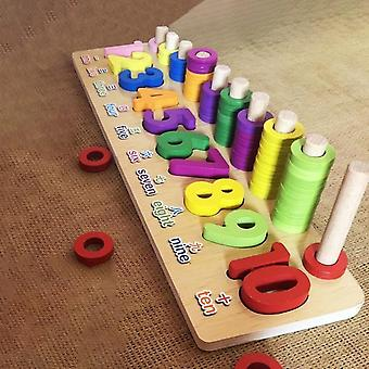 Montessori Educational Wooden, Board Math Fishing Count Numbers Digital Shape