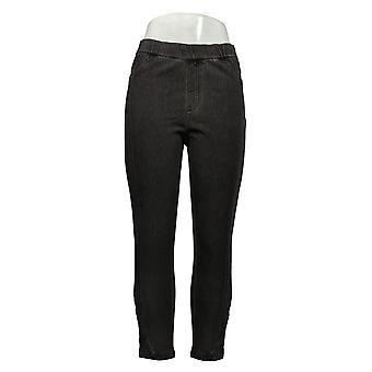 H by Halston Women's Jeans Denim Slim Leg Crop W/ Pintuck Gray A354120