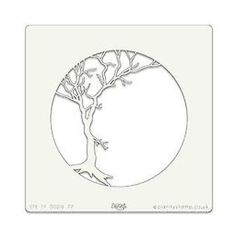 Claritystamp Art Stencil 7x7 Inch Winter Tree Aperture (STE-TR-00218-77)