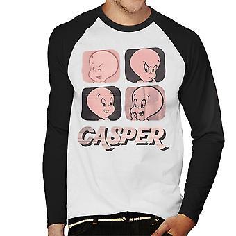 Casper The Friendly Ghost Facial Expressions Men's Baseball Long Sleeved T-Shirt