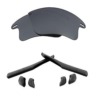 Replacement Lenses & Kit for Oakley Fast Jacket XL Silver Mirror & Black Anti-Scratch Anti-Glare UV400 by SeekOptics