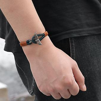 Whale Tail Alloy Leather Hand-knitted Men's Bracelet