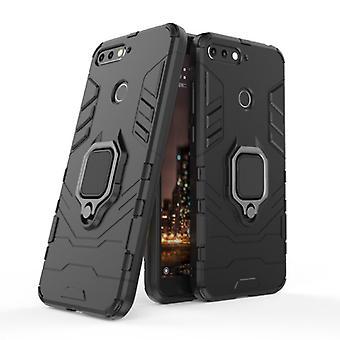 Keysion Huawei Honor 10 -kotelo - Magneettisen iskunkestävä kotelon kansi Cas TPU Musta + Jalusta