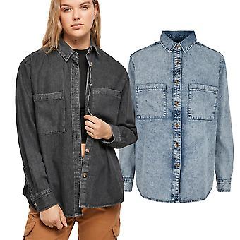 Urban Classics Dame - DENIM Oversized Skjorte Hemd