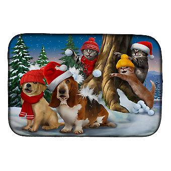 Basset, Golden and Cats Snowball Fight Dish Drying Mat